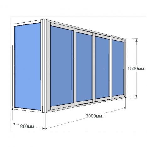 П- образный профиль для стекла 8-10 мм