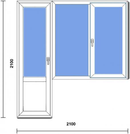 Балконная дверь с окном и створкой.